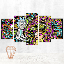 Canvas Painting Rick and Morty Poster Modern Contemporary Movie Print Bedroom Paintings 5 Panels Pop