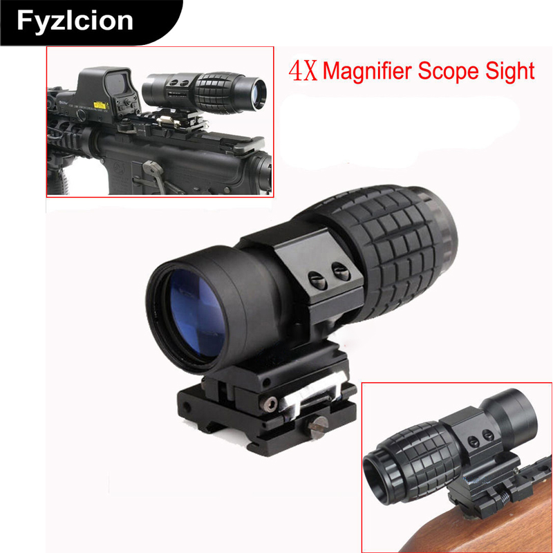 Hunting Tactical 4X Magnifier Scope Sight with Flip To Side Picatinny Weaver Rail Mount free shipping 20mm rail tactical 4x magnifier quick flip scope w flip to side mount fit for holographic sight