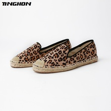 TINGHON Fashion Ethnic Casual Espadrilles Flat Women Spring Printed Brown White Leopard Slip on Fishermen Hemp Rope Shoes 35-43