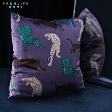 Home Decorative Sofa Throw Pillows Animal print square velvet multicolor pillowcase hug pillowcase цены