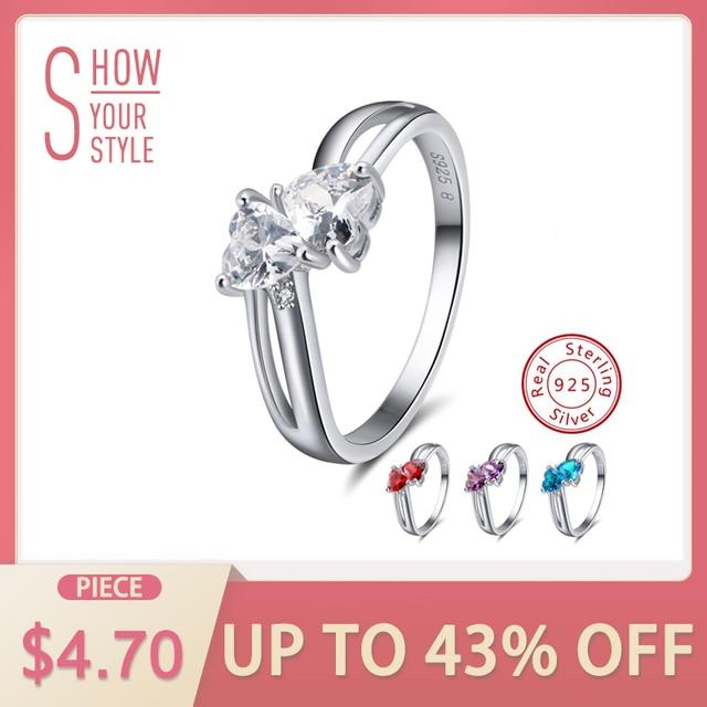 ORSA JEWELS Genuine 925 Sterling Silver Women Rings 4 Colors AAA Cubic Zircon Pr