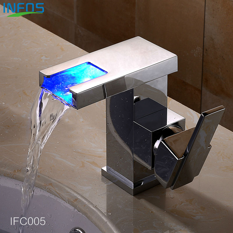 INFOS Bathroom LED Waterfall Water Tap Basin Faucet Kitchen Sink Tap Brass Tap Torneira Banheiro Basin Mixer Water Faucet IFC005 infos bathroom led waterfall water tap