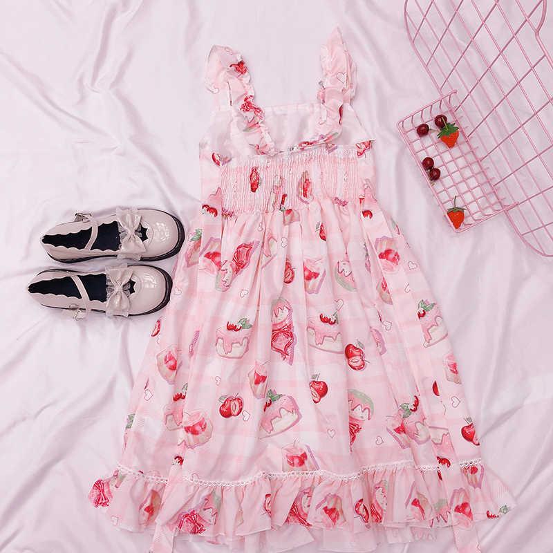 Vestido Lolita Kawaii Japonês irmã macio doce vestido de uma menina rosa bonito do coração da cereja impressão vestido Sem Mangas