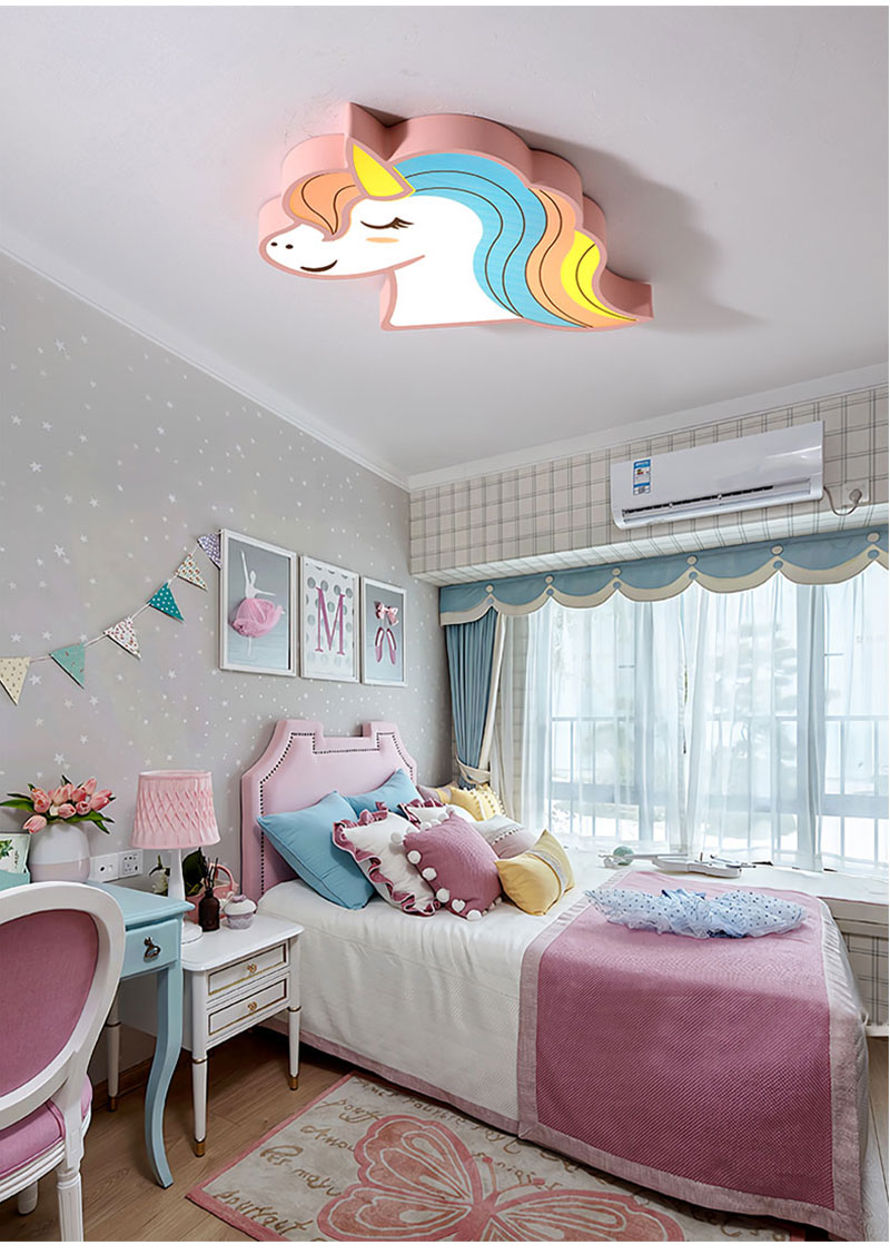 HTB1174OaBCw3KVjSZR0q6zcUpXaE Unicorn kids room light led ceiling lights with remote control cartoon lampshade children room cute ceiling lamp deco child room