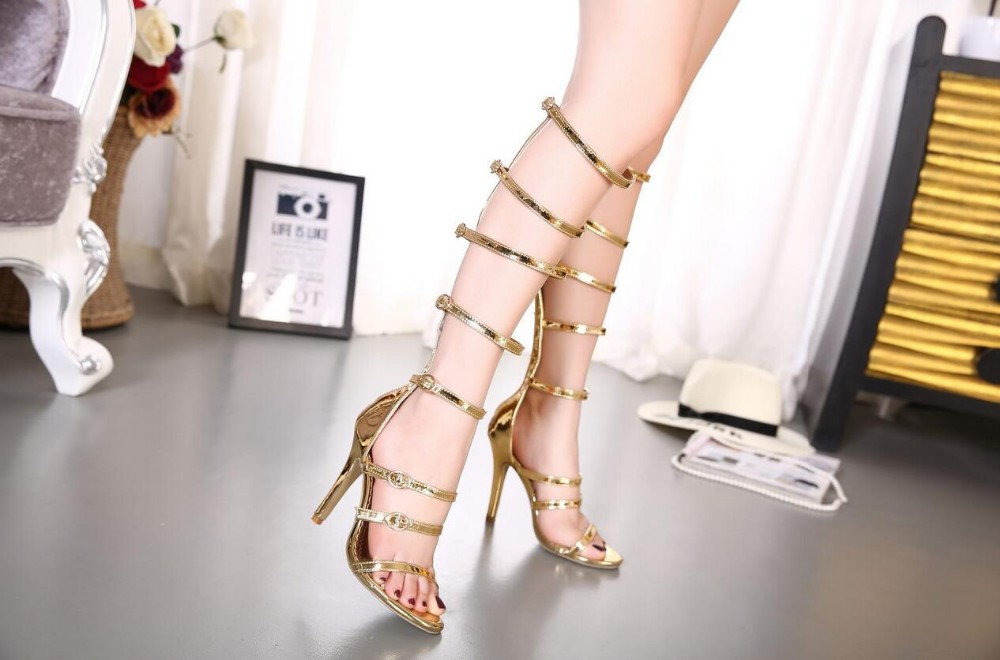 DIJIGIRLS Rome Sandals Women Knee High Cool Boots Sexy Buckle Gold High  Heels Clubwear Party Shoes Gladiator High-heeled Sandals 8d5967a62876