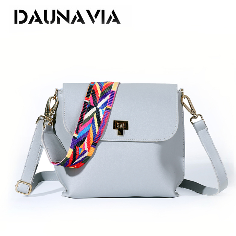 DAUNAVIA Bags for Women 2018 women fashion Messenger Bag Shoulder Bags Female Designer Handbags Women bags with colorful strap