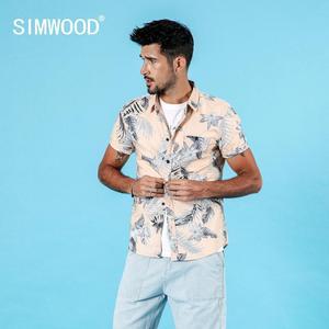 Image 1 - SIMWOOD 2020 été nouveau hawaii manches courtes chemises hommes vacances 100% coton respirant à fleurs chemise de grande taille vêtements 190263
