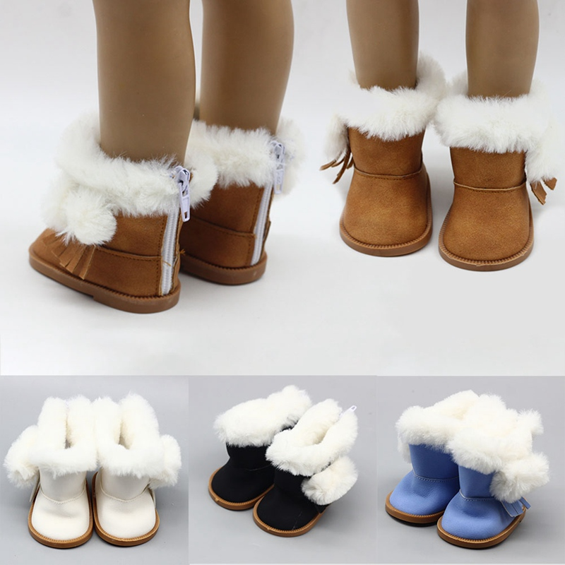 1 Pair doll winter brown boots shoes for 43cm doll and 18 inch dolls gift  FN