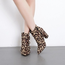 Sapatas da mulher grosso com salto alto 9 cm luxo leopardo cobra botas femininas apontou fivela de cinto sexy passarela sapatos banquete 35-40