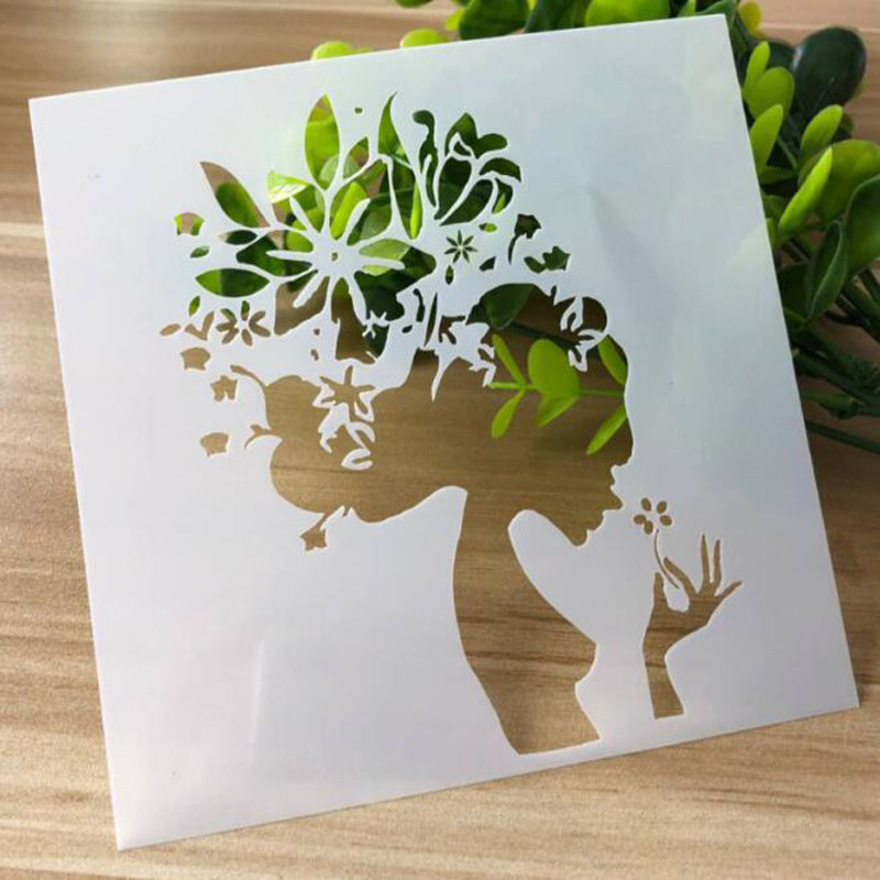 Stencil Beauty Flower Scrapbooking Photo Album Decorative Embossing Bullet Journal Stencils Template For Painting Wall Reusable