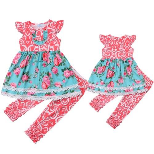 2 шт. для маленьких девочек Кружево Цветочный комплект одежды детей футболки длинные Брюки для девочек наряд Одежда Лето