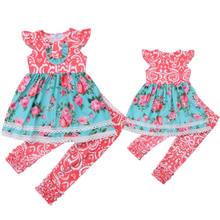 2 Pcs Do Bebê Da Menina Do Laço Floral Roupas Set Crianças Top T-shirt Calças Compridas Roupa Roupas de Verão