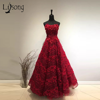 High End Red 3D Flower Long Prom Dresses Lace Pearls Crystal A line Abiye Prom Dresses Dubai Formal Party Dress Vestido Longo