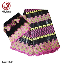 Bazin Cotton lace Fabric 5 Yards Match 2 Tulle Net Lace for One Set comfortable African TAZ-14