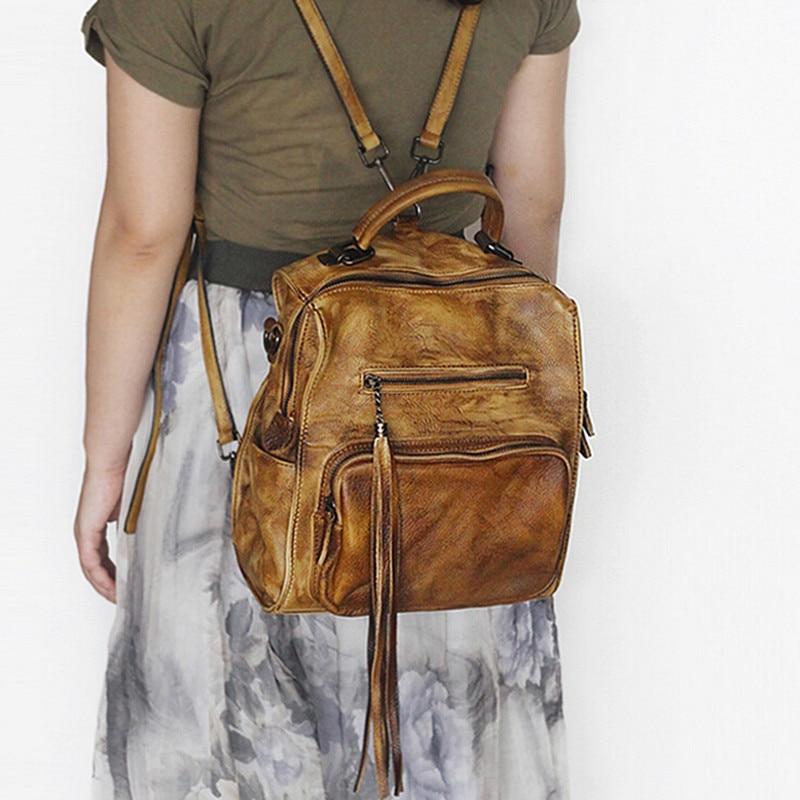 Vegetable Tanned Leather Women Backpacks Genuine Leather Vintage Backpack Female Fashion Travel Tassel Backpack Hot Sale