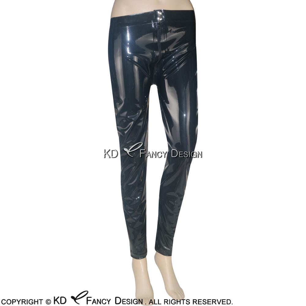 Black Sexy Latex Leggings with Zipper Buttons At Front Rubber Pants Jeans Trousers Bottoms CK-0002