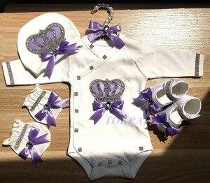 Image 3 - 新生児服セットベビーのセットラインストーンクラウン 0 3 ヶ月帽子 + ボディスーツ + 手袋 + シューズ 4 部品少年少女ジャンプスーツ服