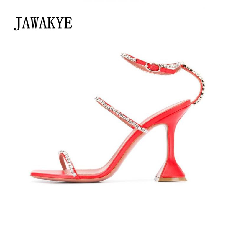 Beading Strappy High Heel Sandals Sexy Black Red Party Shoes Women Strange Heel Fashion Women Shoes