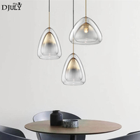 art deco double layered glass Jellyfish led pendant lights modern luxury home deco living room kitchen hanging light fixtures