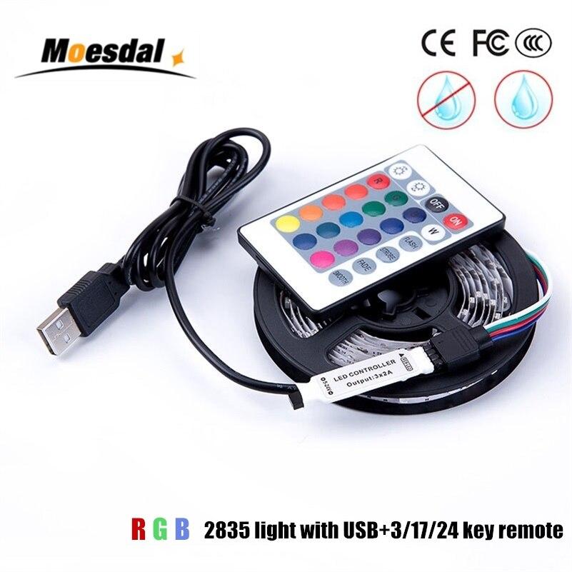 Moesdal LED Strip USB Powered DC 5V LED Strip light 2835 RGB Waterproof Tape LED Lamp 1M 2M 3M 4M 5M TV Background Lighting
