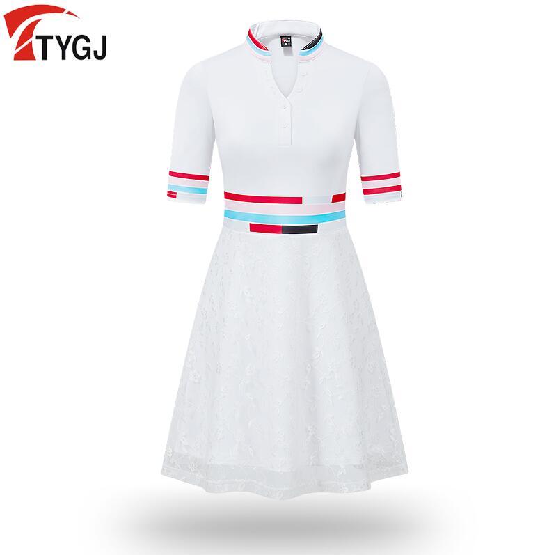 Fino de Impressão de Manga Mulheres Verão Sportswear Golf v Gola Alta Cintura Rendas Curta Saia Esportes Macios Calções Brancos Vestido 2020