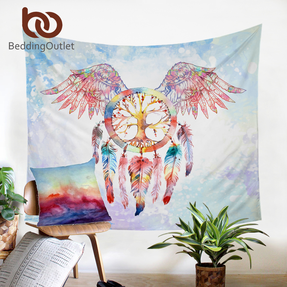 BeddingOutlet Dreamcatcher Tapestry Boho Printed Wall Hanging Flat Sheet Angel Wings Home Decor Microfiber Bedspread Tapestries