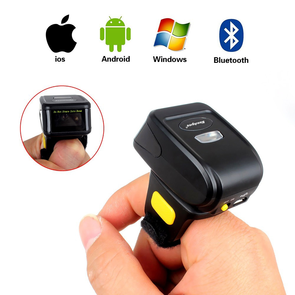 MJ-R30 Mini Bluetooth Ring 2D Scanner QR Code PDF417 DataMatrix Wireless Portable 2D QR Barcode Reader Bluetooth Scanner IOS 2d wireless barcode area imaging scanner 2d wireless barcode gun for supermarket pos system and warehouse dhl express logistic