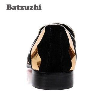 Batzuzhi De Lujo Estilo Italiano 100% Zapatos Nuevos Hombres Punta Puntiaguda Negro Gamuza Oro Raya Con Borla De Oro Hombres Zapatos Casual