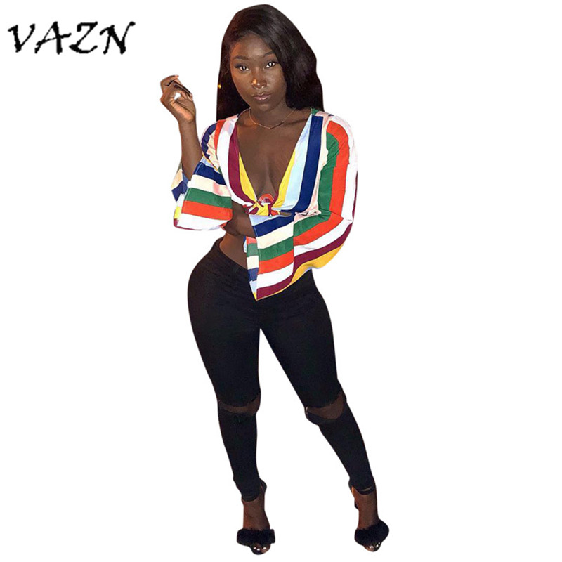 VAZN Special Design 2018 New Popular Sexy Style Women T shirt Striped V-Neck Full Sleeve Bodycon Women Tee HG5083