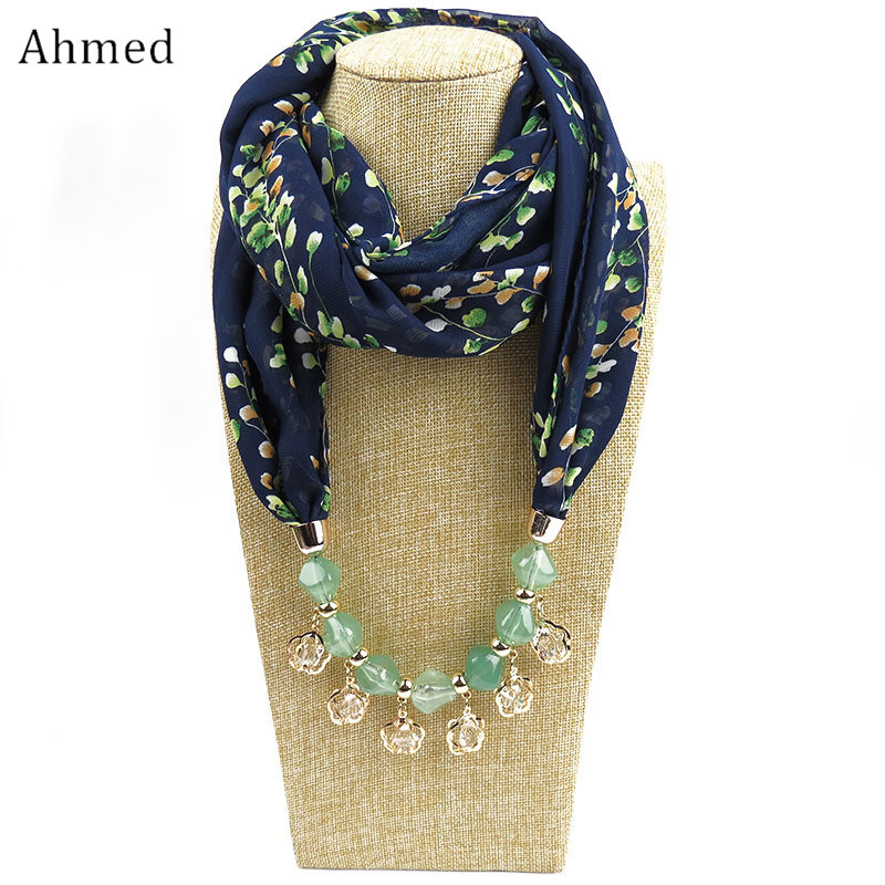 все цены на Ahmed Bohemian Geometric Beads Crystal Necklaces Printing Flowers Pattern Wrap Chiffon Statement Scarf Necklace For Women