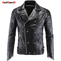 GustOmerD 2016 Winter Top Quality Punk Leather Jacket Men Slim Fit Zipper Mens Motorcycle Mens Leather Jacket Size M-5XL