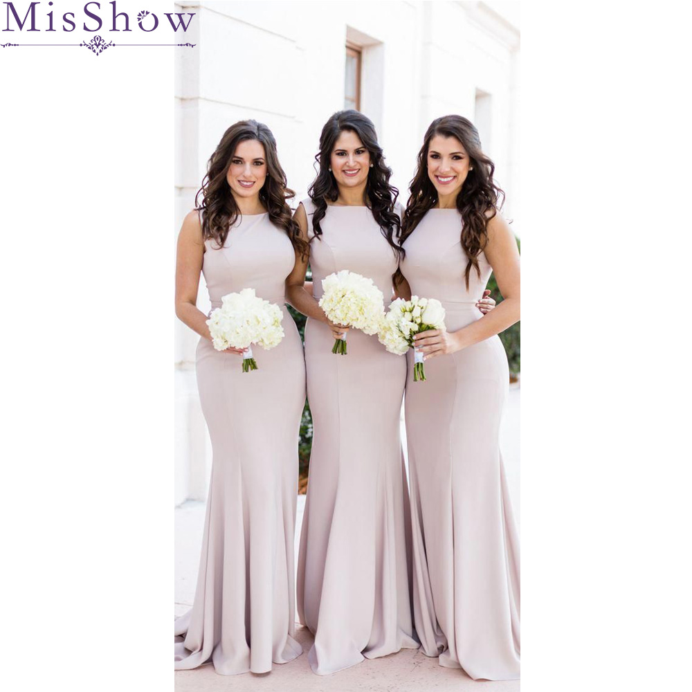 Stylish Mermaid   Bridesmaid     Dresses   Long 2019 Wedding Party Gown Stretch Fabric Satin Sexy Elegant Women bridal   Dress
