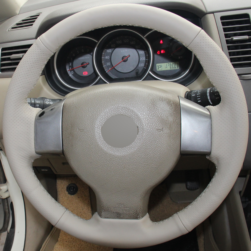 Beige Genuine Leather Hand-stitched Car Steering Wheel Cover for Old Nissan Tiida Livina Sylphy Note