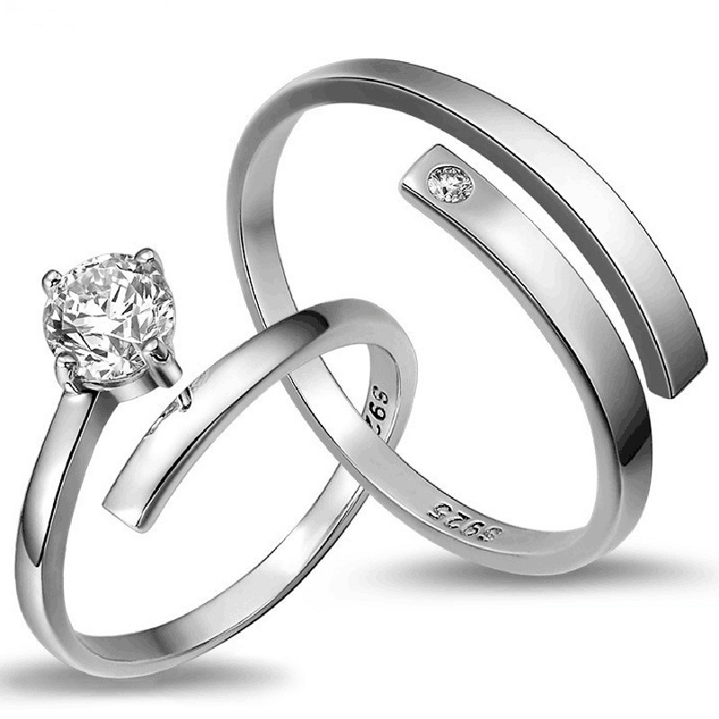 2017 Silver plated female models ring opening wave twist couple ...