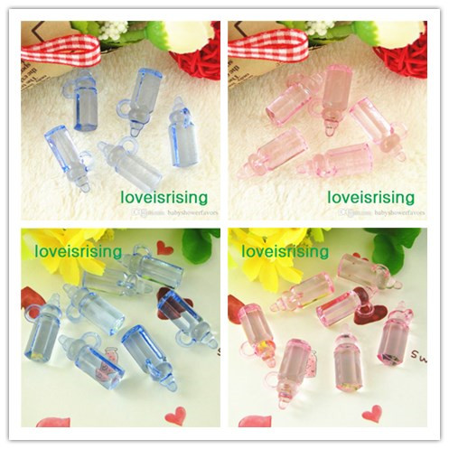 200pcslot mini size 2811mm acrylic light pinkblue color baby bottles for baby shower favorscute charmsparty decoration
