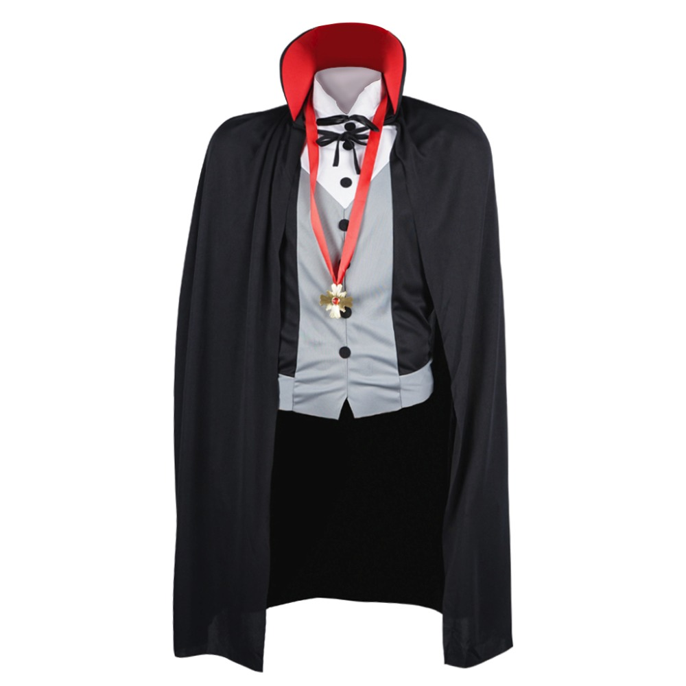 Men Vampire Costume Halloween Costumes Adult Male Fantasy Cosplay Fancy Dress with Cape Stand Collar for Party Carnival