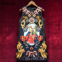 Svoryxiu Vintage Black Mini Dress Women's Sleeveless luxurious Diamonds Our Lady Print Ladies Party Runway Dress 2018