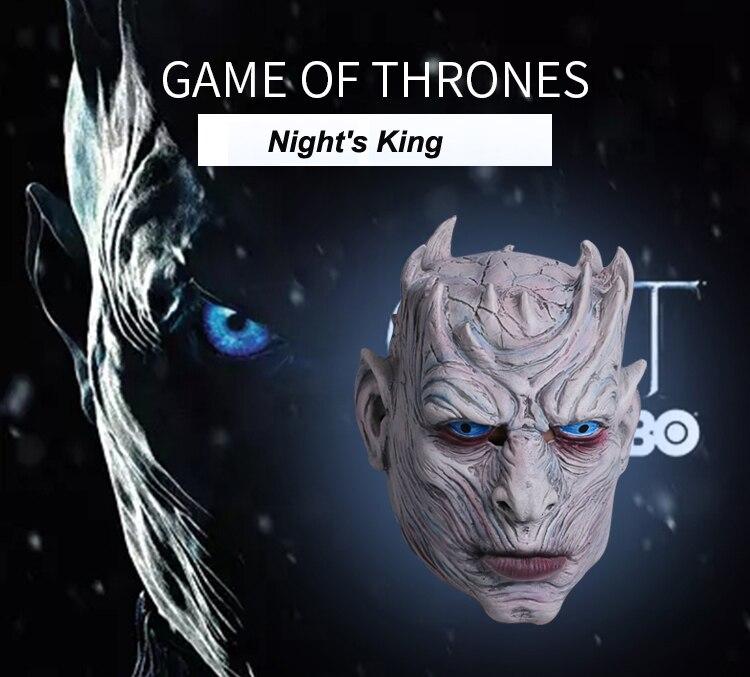 Nouveau masque de tête en Latex Game of Thrones Night's King blanc Walker