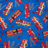 105cm Width Blue Background Red Fire Engine Cotton Fabric For Baby Boy Clothes Sewing Bedding Set