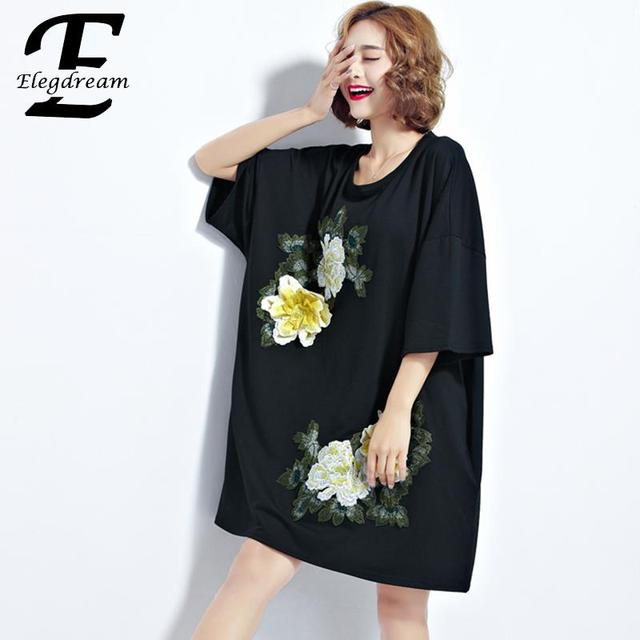 fac3e2c7d61 Elegdream Oversized Clothing Plus Size Women Shirts Blouses Fashion Flower  Embroidered Cotton Tees Female Tunics Blusas