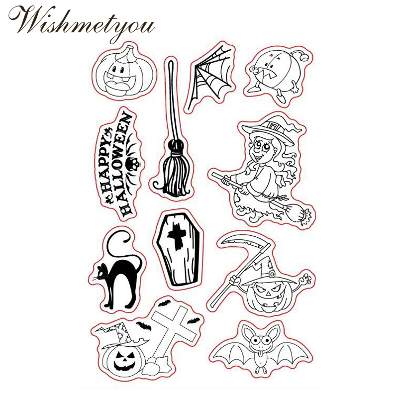 WISHMETYOU Cute Cartoon Halloween Pumpkin Silicone Seals Stamps Cross Transparent For Kids Decor Scrapbooking Making New