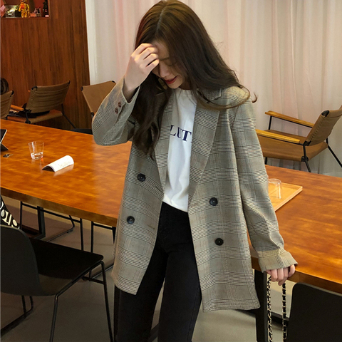 Office Ladies Notched Collar Plaid Women Blazer Double Breasted Autumn Jacket 2018 Casual Pockets Female Suits Coat Islamabad