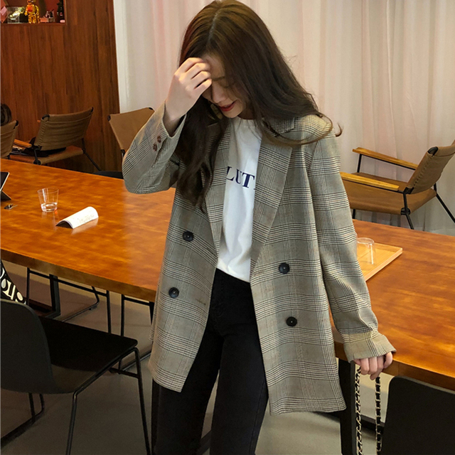 Office Ladies Notched Collar Plaid Women Blazer Double Breasted Autumn Jacket 2020 Casual Pockets Female Suits Coat 3