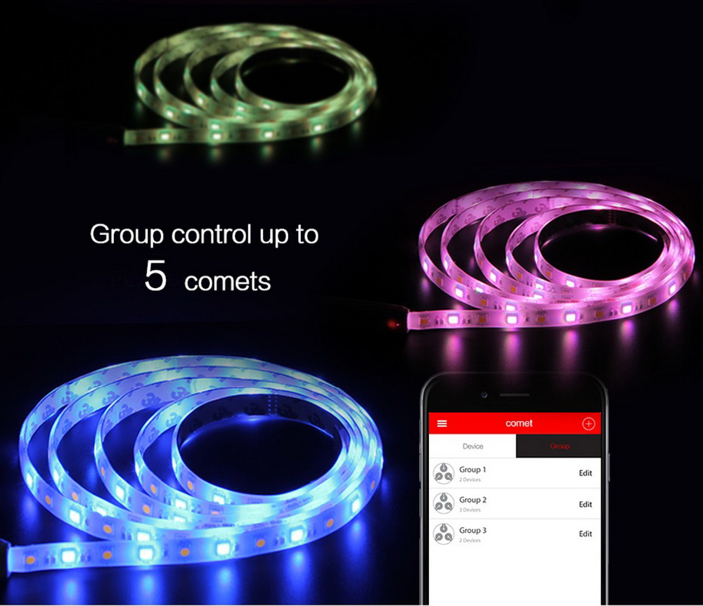 comet lighting. PLAYBULB Comet 2M 6.6ft Rope Flexible LED Light Strip Lamp Kit RGB Color Changing Christmas Lights Indoor Outdoor Decorations-in Smart Remote Control From Lighting H