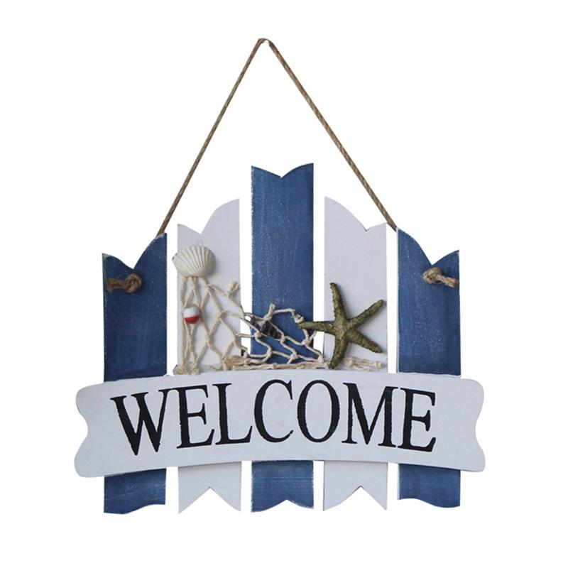 WELCOME Wooden Sign Board Fishing Net Starfish Hanging Mediterranean Style Nautical Wall Decor Beach Theme Cafe Decoration
