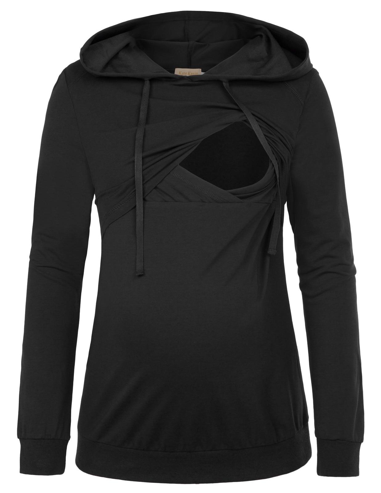 plus size Women clothing Long Sleeve Maternity Nursing Breastfeeding Hooded Tops
