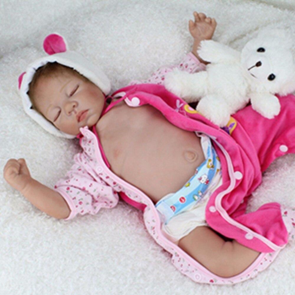Soft Silicone Vinyl Dolls 22inch 55cm Doll Reborn Baby Brown Wig Girl Handmade Cotton Body Lifelike Bebe juguetes Babies Toys
