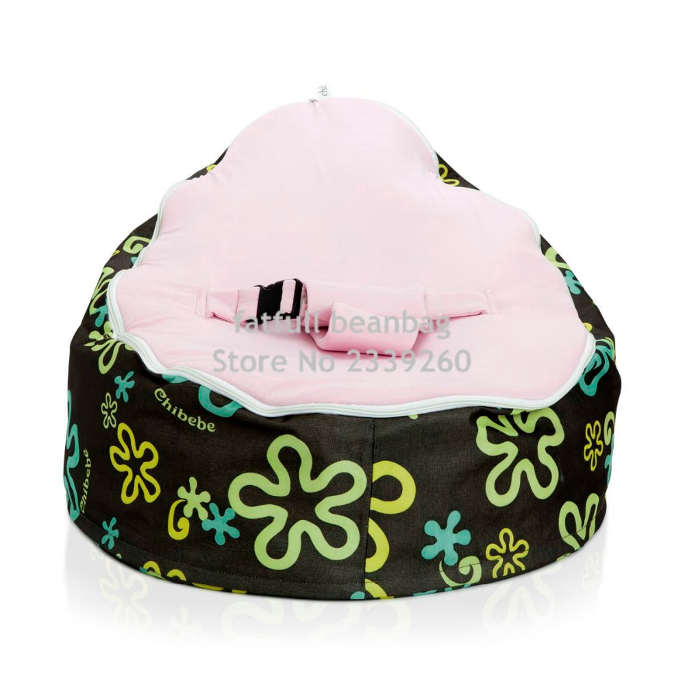 COVER ONLY, NO FILLINGS   Splash Pattern With Pink Strap Harness Seat Baby  Beanbag Chair