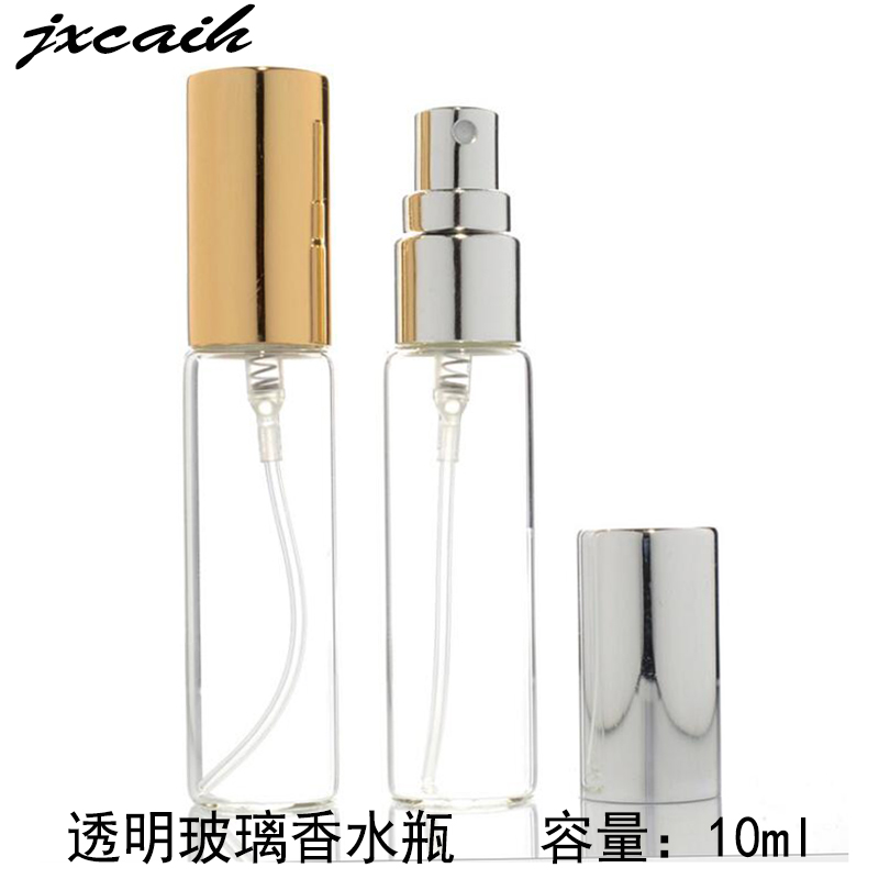 100pcs 10ml Mini Refillable Sample Perfume Transparent glass bottle 10 color optional Travel Spray Empty bottle