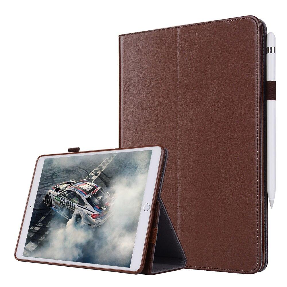 Pour iPad mini 1 2 3 Smart housse étui tablette de luxe en cuir véritable étui pliant + dragonne + fentes pour cartes + porte-crayons